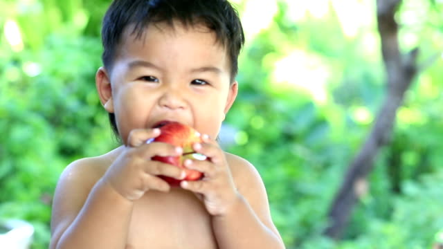 boy eating apple video