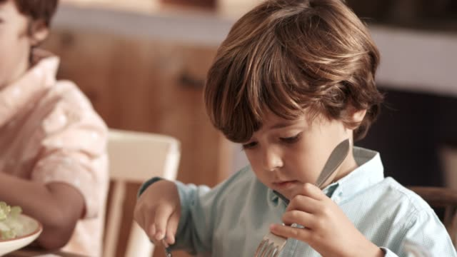 Boy eating food while sitting with brother at home