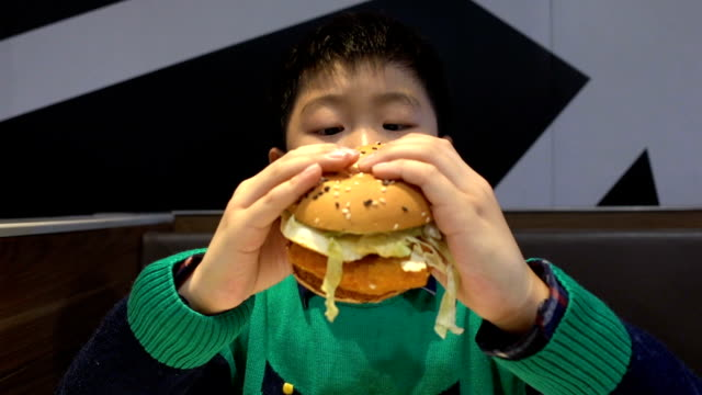 boy eating hamburger indoors - mordere video stock e b–roll