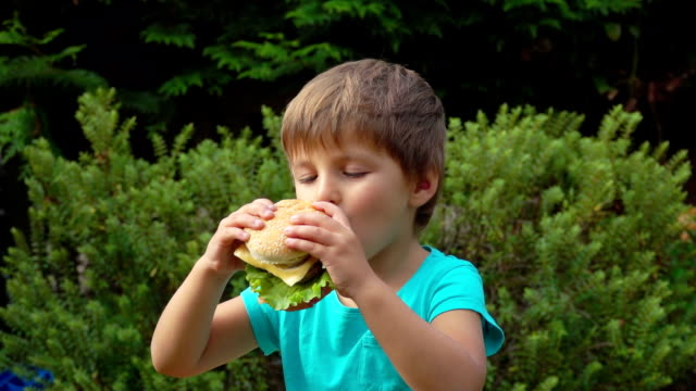Boy eats a big burger with cheese – Video