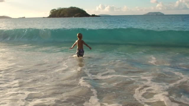 boy hit by a wave at tropical beach video