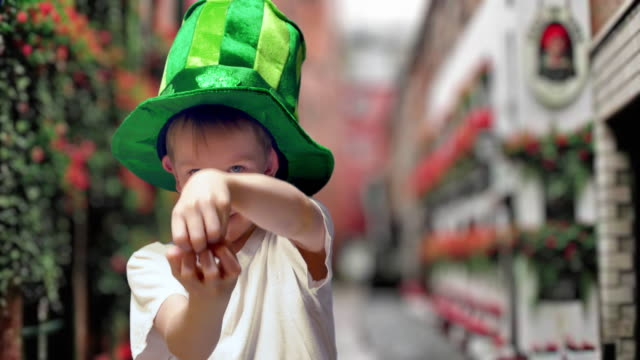 Boy in green Irish hat on St's Patrick Day video