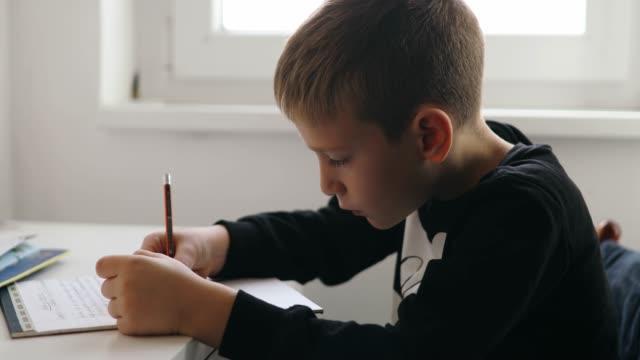 boy is doing his homework - 8 9 anni video stock e b–roll