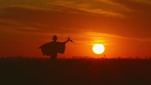 vídeos de stock e filmes b-roll de a boy is running across a field with a plane in his hand. beautiful sunset. 4k - baby super hero