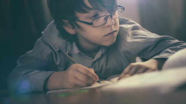 少年が宿題を ビデオ