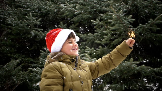 boy on a background of falling snowflakes looks at a sparkler fire and smiles video