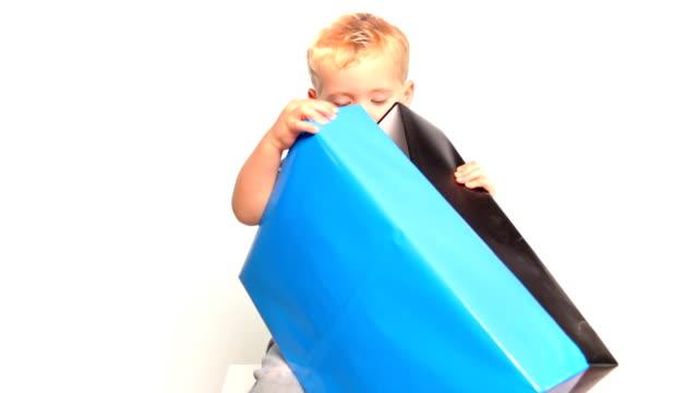 Boy opens gift video