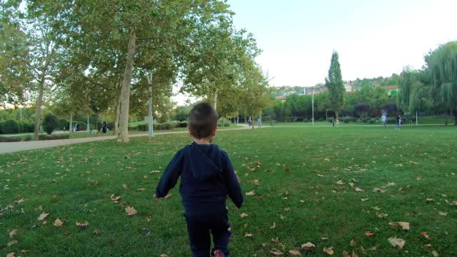 Esfera do jogo do menino no parque - vídeo