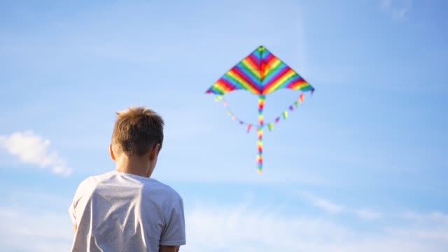 Boy playing with a kite on a blue sky background. Outdoor entertainment