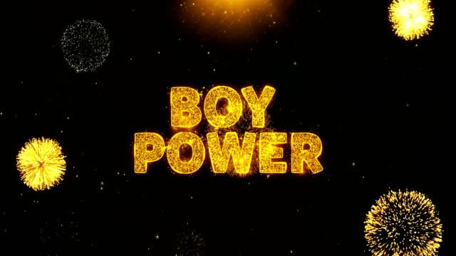 花火ディスプレイ爆発粒子の少年パワーテキスト。 - 託児施設点の映像素材/bロール