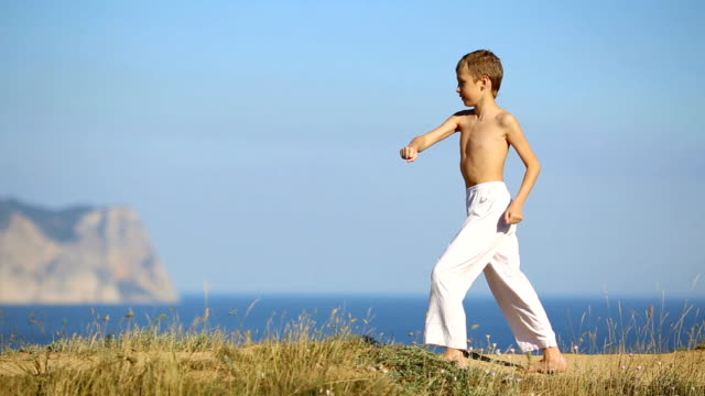 boy practicing martial arts on the coast video