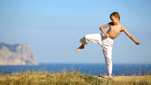 boy practicing martial arts on the coast - young singles stock videos and b-roll footage