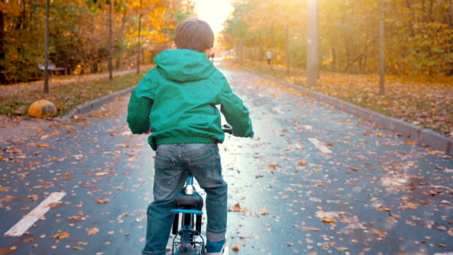 boy riding blue bicycle in the city park in autumn - balance video stock e b–roll