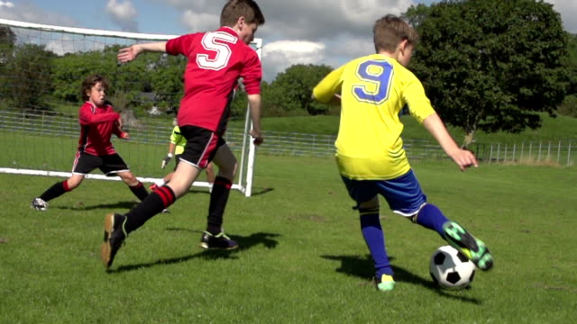 Boy scoring two goals in Kid's Soccer / Football match video