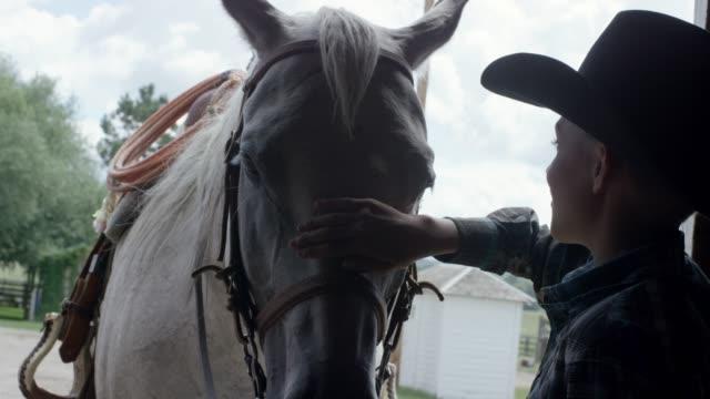 A Boy Scratches a Horse's Head