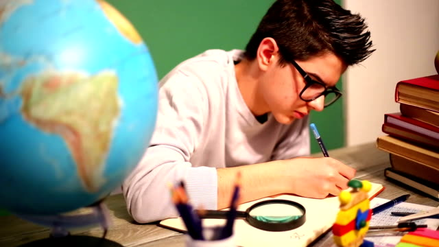 Boy studying video