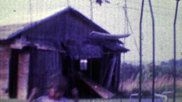 1968: Boy swings hard in family playground with old barn in background. video
