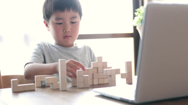 Boy taking an E-learning course at home