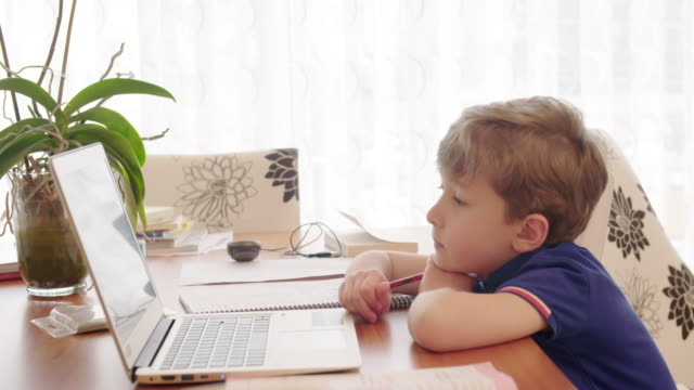 Boy taking online courses in living room