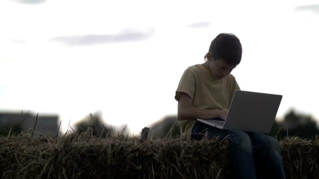 vidéos et rushes de garçon utilise le portable sur la botte de foin dans le village au coucher du soleil - foin