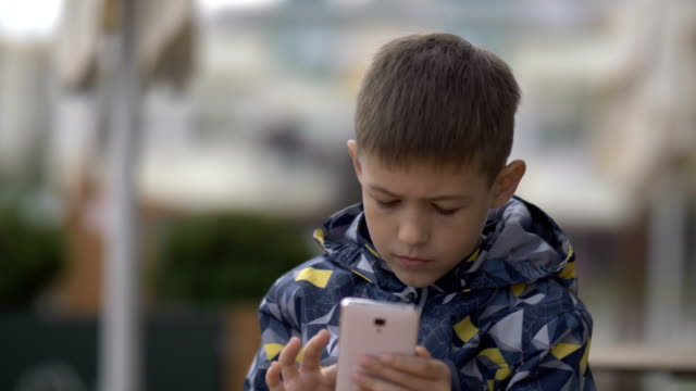 boy uses the phone sitting in a cafe on the street, pigeon is walking past video