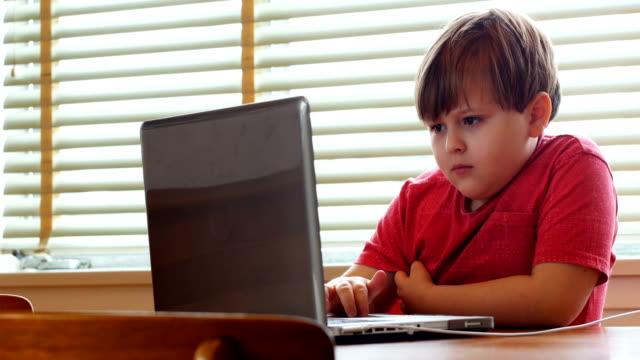 Boy using laptop at home 4k video
