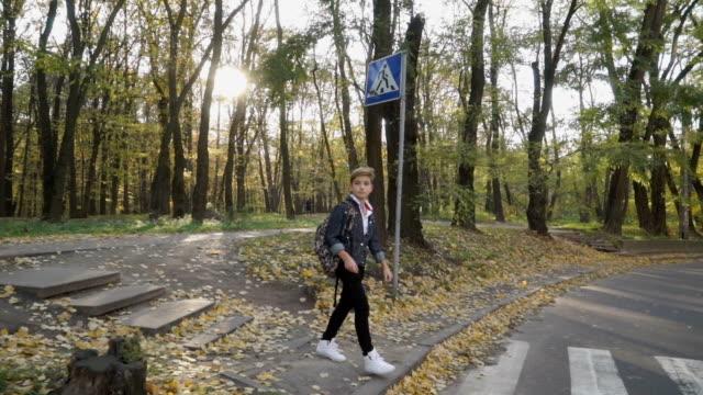 stockvideo's en b-roll-footage met jongen loopt op de oversteekplaats - oversteekplaats