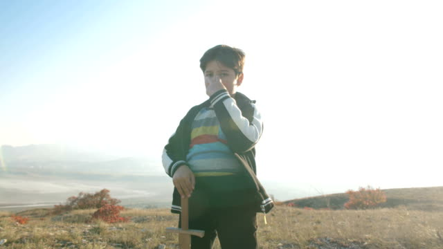 boy with a wooden sword on the background of a mountain landscape makes a hand gesture - curiosità video stock e b–roll