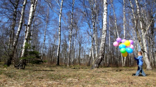 Boy with bunch of balloons walks in spring brich grove video