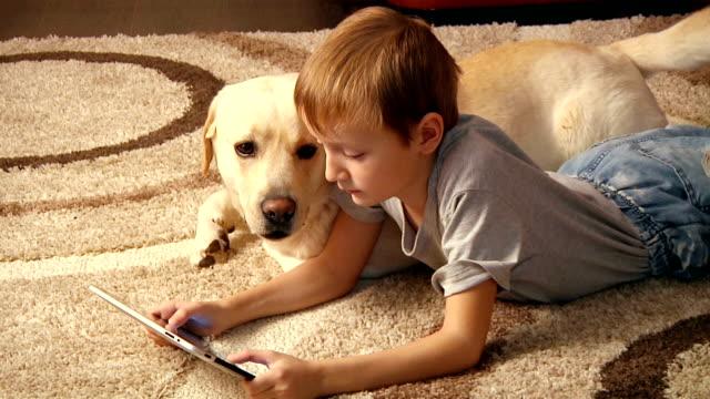 少年、彼の犬 - イヌ科点の映像素材/bロール