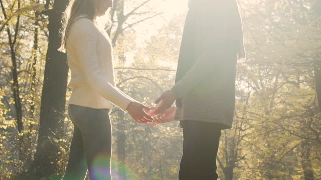 Boyfriend and girlfriend meet after long break and gently touch each other video