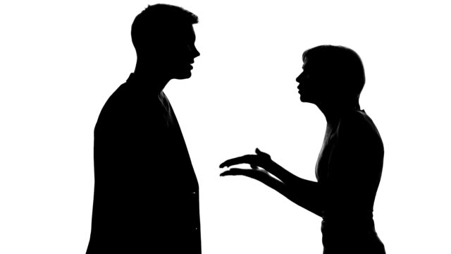 Boyfriend and girlfriend shouting each other, family quarrel, relations conflict