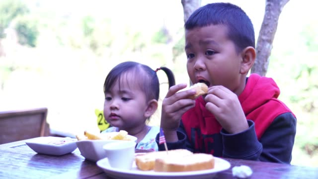 Boys and girls eating fried potatoes in fast-food restaurant video
