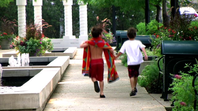 Boys Skipping in Park video