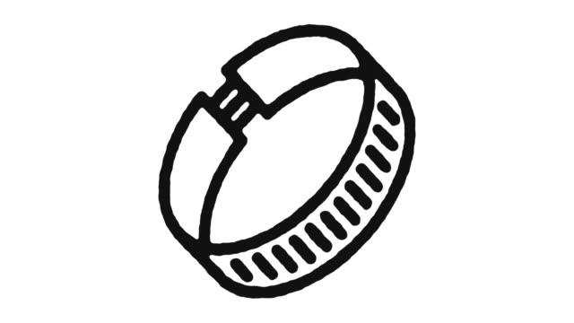 bracelet icon animation footage & alpha channel - браслет стоковые видео и кадры b-roll