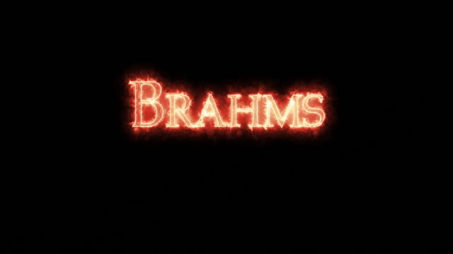 vídeos de stock e filmes b-roll de brahms written with fire. loop - compositor
