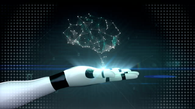 Brain connect digital lines, grow artificial intelligence on robot palm video
