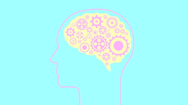 Brain creating new ideas gears spinning animation. Minimal motion design animation. Brain creating new ideas - concept of cogs and gears spinning animation. Seamless looping animation. genius stock videos & royalty-free footage
