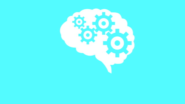 Brain creating new ideas gears spinning animation. Minimal motion design animation. Brain creating new ideas - concept of cogs and gears spinning animation. Seamless looping animation. mental health stock videos & royalty-free footage