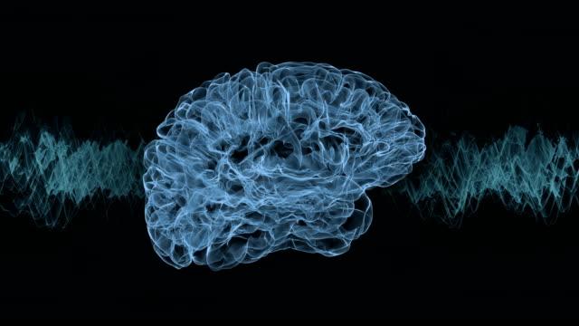 vídeos de stock e filmes b-roll de brain research with frequency waves. - instrumento para diagnóstico