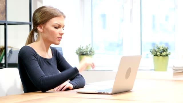 Brain storming, Pensive Girl Working on Laptop video