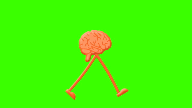 Brain walking cycle on a mock-up green screen background