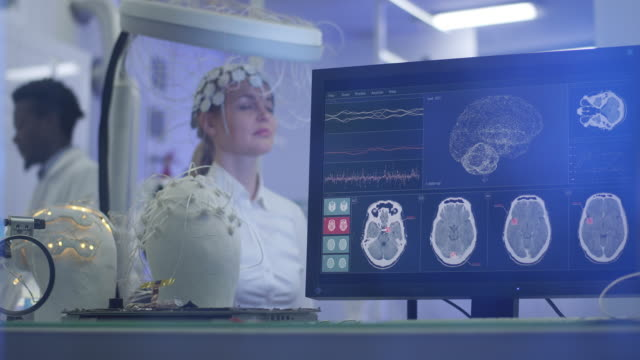 Brainwave Scanning Headset test in laboratory. video