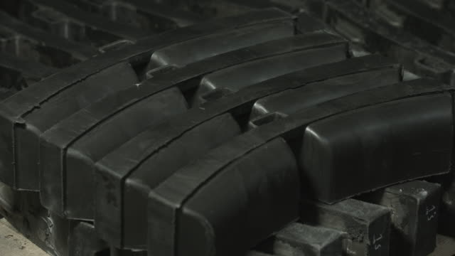 Brake shoes for trains. Details. Close up video