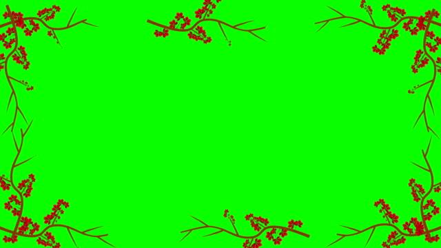 stockvideo's en b-roll-footage met takken en rode bladeren groeien in een frame in alfakanaal - kaderrand