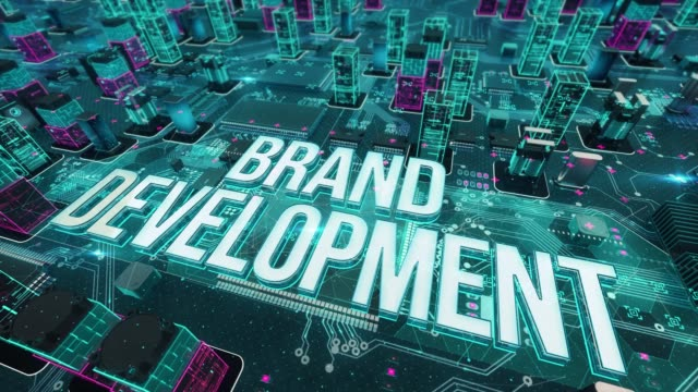 Brand development with digital technology concept