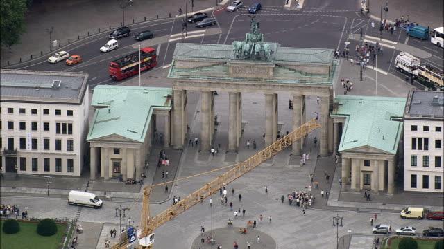Brandenburg Gate  - Aerial View - Berlin,  Berlin,  Stadt,  Germany Brandenburg Gate. Berlin,  Berlin,  Stadt helicopter filming,  aerial video,  cineflex,  establishing shotGermany neoclassical architecture stock videos & royalty-free footage