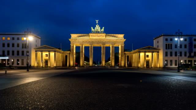 Brandenburg Gate, Night to Day Time Lapse, Berlin, Germany. video