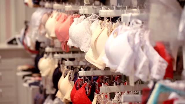 Bras at underwear shop video