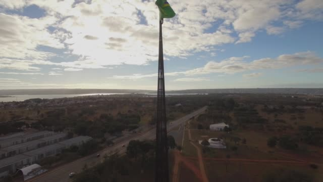Brasil flag - rising Brasilia aerial